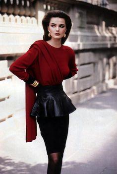 Anne Klein, Fashion magazine, fall 1987. Model: Paulina Porizkova.