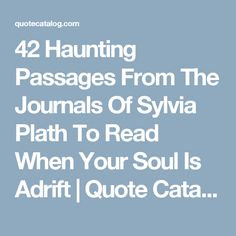 42 Haunting Passages From The Journals Of Sylvia Plath To Read When Your Soul Is Adrift   Quote Catalog