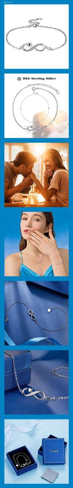 F.ZENI Damen Armband 925 Sterling Silber Unendlichkeit Armband Funkeln Kubisches Zirkonia Liebe für Immer Armbänder für Frauen Mädchen Schmuck Geschenk mit Geschenkbox - 14h6
