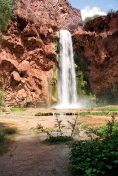 Mooney Falls: Epic Descent to a 200 Foot Waterfall in Arizona - Through My Lens Havasupai Waterfalls, Arizona Waterfalls, Grand Canyon, Around The Worlds, Military, Adventure, Caves, Outdoor