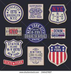 Labels vintage NYC denim athletic typography, t-shirt graphics, vectors