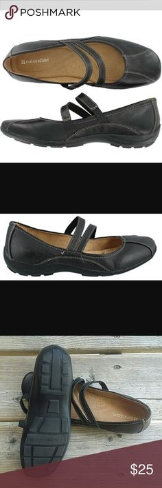 Naturalizer Forsure Mary Jane Sandal Flats Double straps means double the fun in this tailored Mart Jane style by Naturalizer. The FORSURE also features a smooth faux leather upper with multiple overlays and contrast stitching. Naturalizer Shoes Flats & Loafers