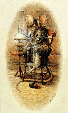 A mouse seated in an armchair, knitting.