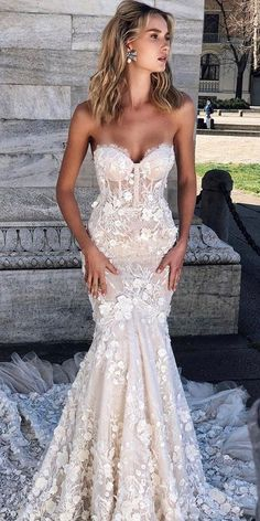 30 Mermaid Wedding Dresses You Admire ❤ mermaid wedding dresses sweetheart strapless neckline floral lace berta Mermaid Wedding Dress With Sleeves, Fit And Flare Wedding Dress, Sweetheart Wedding Dress, Mermaid Dresses, Mermaid Sweetheart, Bhldn Bridesmaid Dresses, Bridesmaid Dresses Plus Size, Davids Bridal Dresses, David Bridal Wedding Dresses