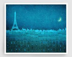 The Eiffel tower in PARIS  Paris illustration Art