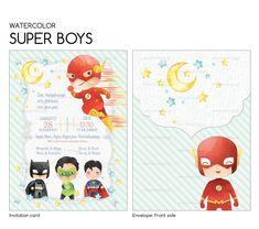 Invitation Cards, Invitations, Card Envelopes, Kids Rugs, Watercolor, Boys, Superman, Decor, Art