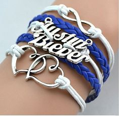 GirlZ! Justin Bieber Infinity double heart bracelet : blue
