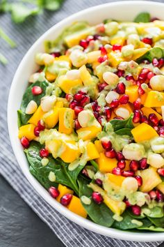 Tropical Spinach Salad with Creamy Coconut Lime Dressing | Get Inspired Everyday!