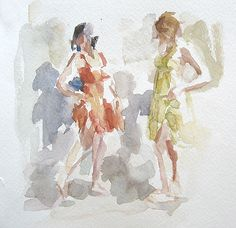 Anne Petty, Watercolor - amazing how the people and the gestures are just suggested with blurry strokes!