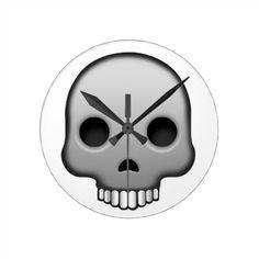 Skull Emoji Round Clock