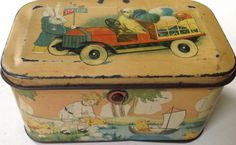 Antique early 1920s Tindeco Tin-Litho Easter Candy Pail Box w/ Rabbits, Chicks #Tindeco