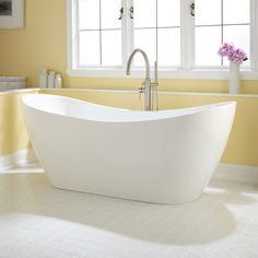 """72"""" Sheba Acrylic Double-Slipper Tub. Shape and hardware. Definitely stand alone tub."""