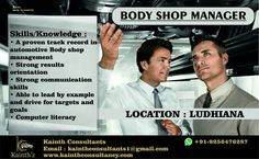 #Bodyshop #Manager #Supervisor Required for #Automobile Sector Who can handle Bodyshop service of four wheeler vehicles in #Punjab #Haryana Intrested can send their resume by email:- kainthconsultants1@gmail.com By Kainth'z whatsapp:- 9256476287 Click here:- www.kainthconsultancy.com