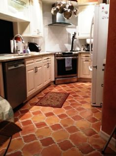 Get Saltillo Tile right from the source - Rustico Tile and Stone. We ship worldwide and offer discount prices for handmade Saltillo floor tile. Kitchen Tiles, Kitchen Flooring, Tile Flooring, Spanish House, Spanish Colonial, Spanish Style, Southwest Kitchen, Arabesque Tile, Quarry Tiles