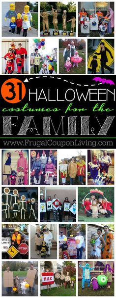 31 Family Halloween Costume Ideas and where to buy them! Unique, creative and out of the box ideas for your entire family.