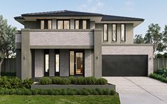 This home stands proudly alongside our other stunning Metricon homes. Own this majestic facade of Doulton home for a stylish living! Beautiful House Plans, French Style Homes, Storey Homes, Mediterranean Homes, New Home Designs, Facade House, House Front, Exterior, Modern House Design