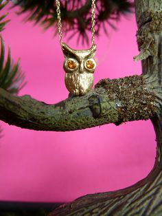 Beautiful 14kt yellow gold owl necklace with mandarine sapphire eyes. Available at LTH STUDIO 818-985-1278
