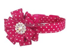 HANDMADE HOT PINK  POLKA DOT DOG COLLAR/RHINESTONE FLOWER.TOY DOG YORKIE PUPPY https://facebook.com/pages/Lulus-Closet-Pet-Boutique-Handmade-Boutique-Cat-Dog-Collars/342232525948623