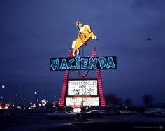 "Hacienda, Las Vegas, December Horse & rider sign by Brian ""Buzz"" Leming of YESCO, now a part of Neon Museum's urban gallery at Fremont St & Las Vegas Blvd. Las Vegas Love, Las Vegas Photos, Las Vegas City, Las Vegas Trip, Las Vegas Nevada, Las Vegas Resorts, Las Vegas Restaurants, Old Vegas, Vintage Neon Signs"