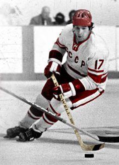 Valeri Kharlamov ( - Considered the greatest Soviet hockey player of all time. Russian hockey players Ilya Kovalchuk and Evgeni Malkin wear the and (reversed respectively, in honour of Kharlamov. Hockey Room, Hockey Puck, Hockey Teams, Hockey Players, Ice Hockey, Army Hockey, Nhl, Ilya Kovalchuk, Evgeni Malkin