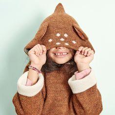 Oeuf NYC Alpaca Wool FW16 kidswear Animal Hoodie Bambi