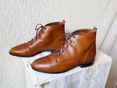 Vintage Rust Brown Leather POINTY Granny Wingtip Oxford Flats Ankle Boots Shoes 8. $45.00, via Etsy.