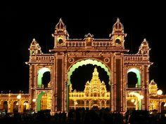 Maharaja's Palace Illuminated At Night, Mysore, India Mysore Palace, Mysore Dasara, Best Tourist Destinations, Indian Architecture, Karnataka, India Travel, Incredible India, Places To Go, Beautiful Places