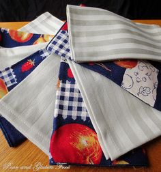 A tutorial on using scrap fabric to make cloth napkins, with a regular sewing machine or a serger.