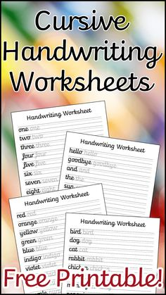 A set of 10 cursive handwriting worksheets to help your child improve their handwriting. Includes letters, common words, and a blank lined sheet for them to write their own sentences.