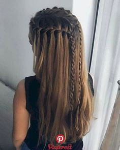 51 Cute Waterfall Braid Hairstyle Ideas For Girls   Why waste money visiting the parlour as soon as you can simply do amazing hairstyles suiting your saree at your […] Different Braid Hairstyles, Single Braids Hairstyles, Formal Hairstyles For Long Hair, French Braid Hairstyles, Braids For Long Hair, Girl Hairstyles, Amazing Hairstyles, Bohemian Hairstyles, Bohemian Braids