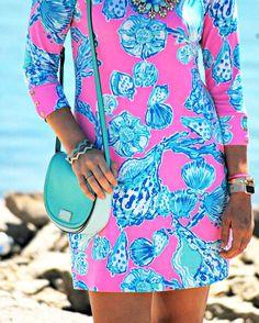 Lilly Pulitzer Sophie Barefoot Princess dress + mint/turquoise Kate Spade crossbody purse - summer fashion via theprofessionalprep.com