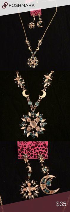 NWT Betsey Johnson Moon & Sun necklace & earring NWT Betsey Johnson Moon 🌙 & Sun ☀️ necklace and earring set.  Beautiful set. Betsey Johnson Jewelry Necklaces