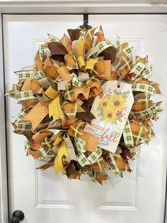 Happy Fall Wreath, Harvest Wreath, Wheat Wreath, Fall Wreath, Farmhouse Wreath, Rustic Wreath, simple fall wreath, pumpkin wreath
