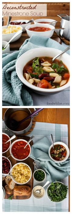Deconstructed Minestrone Soup. Perfect for picky eaters! Everyone build their own soup or pasta. And it only takes 10 minutes to prepare!