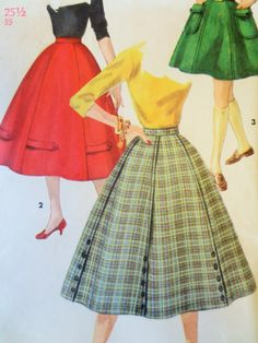 Vintage Simplicity 1691 Sewing Pattern, 1950s Skirt Pattern, Circle Skirt, 6 Gore Full Skirt, Waist 25.5, MISSING WAIST, Vintage Sewing