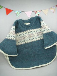 poncho made from wool sweater