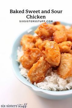 This Baked Sweet and Sour Chicken tastes good enough to come from a restaurant but you don't even have to leave the house to get it!