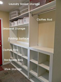 I think I have Laundry room storage envy! Built In Storage for Laundry Room. I think I have Laundry room storage envy! Built In Storage for Laundry Room…oh… Laundry Room Remodel, Closet Remodel, Laundry Room Organization, Laundry Room Design, Laundry Rooms, Storage Organization, Storage Ideas, Storage Solutions, Closet Storage