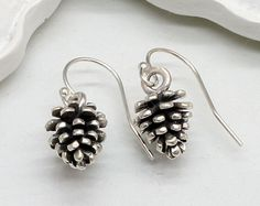 Sterling Silver Pinecone Earrings, Pine Cone, Nature, Tree,Gift, Christmas Gift, Holiday Necklace,Holiday Gift - pinned by pin4etsy.com