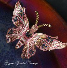 Vintage  Pink Enamel Butterfly Brooch/Pin