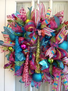 turquoise and lime christmas decorations | DELUXE XXL Deco Mesh CHRISTMAS Wreath For Door or ... | Deco Mesh Ide ...