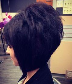 The Full Stack: 50 Hottest Stacked Haircuts black layered backcombed bob Short Stacked Haircuts, Stacked Bob Hairstyles, Hairstyles Haircuts, Short Hair Cuts, Short Hair Styles, Bob Haircuts, Medium Hairstyles, Braided Hairstyles, Wedding Hairstyles