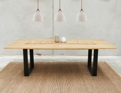 Odense Black Steel Leg Solid Oak Rectangle Dining Table by Bent Design Studio
