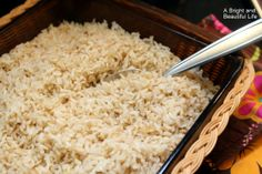 Oven-Baked Brown Rice turns out perfectly every time. Put the ingredients in a baking dish, pop it in the oven, and walk away for seventy minutes. Easy!