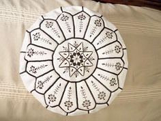 Image result for moroccan embroidery design file Moroccan Pouffe, Morrocan Rug, White Ottoman, Leather Footstool, Handmade Ottomans, Beni Rugs, Art Deco Rugs, Pouf Ottoman, Moroccan Style