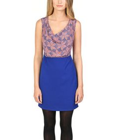 Sapphire Geometric Silk Drape Neck Dress #zulily #zulilyfinds