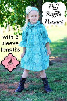 Puff Ruffle Peasant Top/Dress PDF Sewing Pattern nb-12 girls