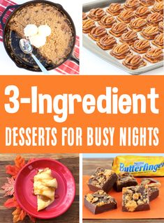 Easy Dessert Recipes with 3 Ingredients! Quick prep desserts everyone will LOVE, that will take hardly any effort!  Have you tried any of these yet?? Easy Summer Desserts, Easy Summer Meals, Fall Desserts, Christmas Desserts, Summer Recipes, Delicious Desserts, Dessert Recipes, Easy Recipes, Baking For Beginners