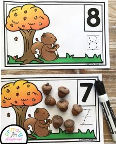 Squirrel-Acorn Counting Mats 1- 20