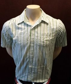 Calvin Klein Jeans Button Down Stripped Shirt With Logo Size Large Excellent #CalvinKleinJeans #ButtonFront $8.99